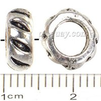 Wholesale Large Bangles Wholesale - Wholesales Beads DIY Pandora Charms Bracelets Bangles Large Hole Round Vintage Silver Metal Jewelry Accessories Free Shipping 8*4mm 300pcs