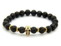 Wholesale Skull Link Bracelet - 2015 New Products Wholesale 10pcs lot Beaded 8MM Lava stone beads 24K Gold Skull Elastic Bracelets for Men and Women's Gift