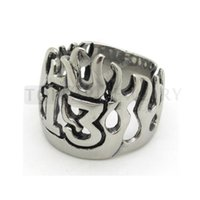 Teboer Jewelry 3pcs Stainless Steel Mens Flame Numbers Lucky 13 Ring Biker MER155