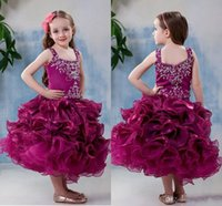 Wholesale Christmas Body Lights - 2015 Tea-Length Organza flower girl dress Off the Shoulder Zipper Back Ruffled Skirt With Beads Body Girl Pageant Gown free shipping new