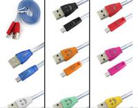 düz erişte ışığı toptan satış-LED Görünür Mikro USB Flash Akışı Şarj Kablosu Samsung Galaxy S4 S5 S6 Veri Sync için Gülümseme 1 M Düz Şehriye Light Up Kordonlar HTC Cep Telefonu