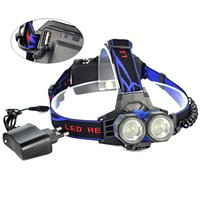 Wholesale Rechargeable Head Torches - 2 XML XM-L T6 LED 4-mode Max 3000LM USB Rechargeable Waterproof 18650 AA AAA Headlamp Headlight Head Torch Light Lamp + AC Charger
