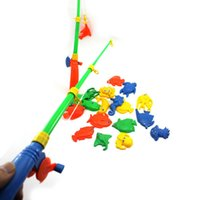 Wholesale Magnetic Toy Fishing Rods - New 2015 Best Gift Baby Kid Cute Magnetic Double Fishing Rods + 20 Fish Model Pretend Play Toy Gift