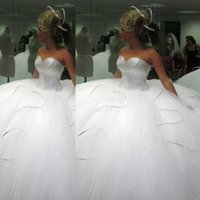 Wholesale Ballgown Wedding Dress Sweep Train - 2015 2014 Bling Bling big poofy wedding dresses Custom Made Plus Size Tulle Ball Gown Beads Crystal vestidos de novia puffy Ballgown Dress