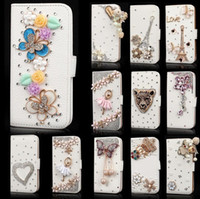 DIY Deluxe Crystal Bling Diamond Rhinestone Flip Wallet Slot para cartão de couro para iPhone 4 5 6 Plus Samsung Galaxy S4 S5 S6 Edge Note 3