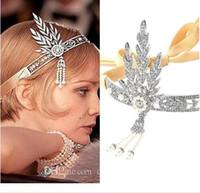 büyük gatsby kılı toptan satış-Yeni Great Gatsby Vintage Bantlar Saç Bantları Headpieces Gelin Düğün Takılar Aksesuarları Gümüş Kristaller Rhinestone İnciler HT05