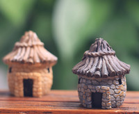 ingrosso miniature buildings-artificiale casa carina grigio giallo edifici fata giardino miniature gnome muschio terrario arredamento resina artigianato bonsai home decor per fai da te Zakka