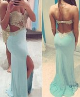 Wholesale Sweetheart Mermaid Champagne Chiffon - 2015 Backless Mermaid Lace Sexy Beaded Prom Dresses Sweetheart Satin Sweep Train Prom Gowns Light Sky Blue Evening Dresses P76