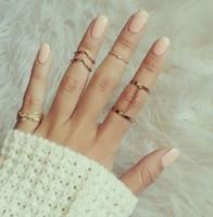 moda anéis dedo cadeias venda por atacado-Anéis de moda 6 pçs / set Brilhante Estilo Punk Ouro / Banhado A prata Empilhamento midi Finger Knuckle anéis charme folha anel set mulheres anéis de cadeia de jóias