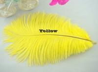 plumas de avestruz amarillas al por mayor-Venta al por mayor 100 unids 8-10 pulgadas amarillo pluma de avestruz para la boda pieza central de mesa decoraction decoración del partido de La Boda