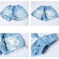 Wholesale Demin Jeans Short - Wholesale-New Baby Girls Cowboy Shorts Jeans Lace Pocket Demin Cool Summer Hot Pants 1-6Y
