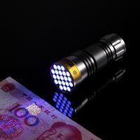 Wholesale High Power Uv Torch - High power Portable 21 LED UV flashlight Black Ultra violet Flashlight Torch Light Lamp 3AAA Aluminium Bettary Alloy metarial