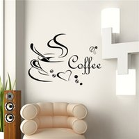 Wholesale Sticker Cup Coffee - New Fashion Coffee Cup DIY Removable Art Vinyl Wall Sticker Decal Mural Kitchen Home Decor Romantic Design 2016