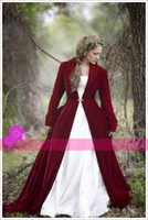 Wholesale Long Red Wedding Cloak - Christmas Burgundy Red Velvet Winter Bridal Cloaks With Long Sleeves V-Neck Women Wedding Jackets   Wraps   Coats   Capes   Shrugs Plus Size