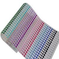 Wholesale Diamond Stickers 3mm - Wholesale-1 Sheet 900PCS 3mm 4mm 5mm Multicolor rhinestone sticker sheets Crystal diamond sticker