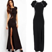 Wholesale Sexy After Dresses - New Fashion Sexy Occident Behind Lace Hollow Split After Zipper Maxi Dress For Women,Summer Long Dress Women's Clothing Black