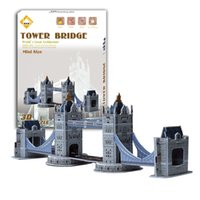 Wholesale Tower London 3d Puzzle - 3D puzzle world famous buildings London Tower Bridge 3d puzzle paper children creative toys for adults kids birthday kids gift