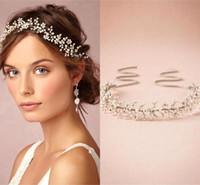 Wholesale Beaded Wedding Headpiece - 2015 Real Image In Stock Sparkly Princess Bridal Headpiece Pearl Beaded Bridal Headbands Wedding Bridal Hair Accessories CPA154