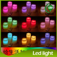 Wholesale Color Changing Wax - LED Candle Lights Wax Battery Electronic 4 or 8 hour Remote Control Color-changing Light LED Candle Lamps Wedding Christmas Decorate Light