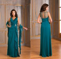 Wholesale Teal Mother Bride - 2017 Formal Teal Green Chiffon Plus Size Mother Of The Bride Dresses V Neck A Line Ruffles Long Evening Gowns With Shawl