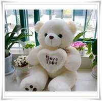"Wholesale I Teddy - Wholesale-Hot 50CM 70cm 90cm 3 ""I love you""Giant Huge Big Soft Plush White Teddy Bear Halloween Christmas Gift toys brand Clever"