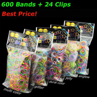 Wholesale Loom Dual - Quality Loom Bands Glitter Jelly Glow in the dark  Dual Color Multi Color Rubber Bands Loom Band Wrist Bracelet (600 bands + 24 clips) 500+
