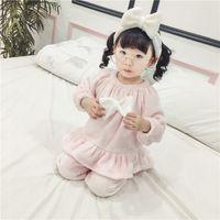 Wholesale Girl Pajamas Bow - Girls pajamas outfits winter child velvet household sleepwears sets kids big Bows falbala long sleeve tops+pants+headbands 3pcs sets R1199