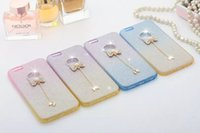 Wholesale Diamond Bling Bow Case - For Iphone 6S 6 plus 5.5 4.7 5 5S 5th Glitter Diamond Bling Bow Pendant Soft TPU Silicon gel Phone Case Gradient Chain skin Colorful Luxury