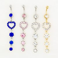 Wholesale nice body jewelry - D0530 ( 3 colors ) body jewelry Nice style Navel Belly ring 10 pcs mix colors stone drop shipping factory price