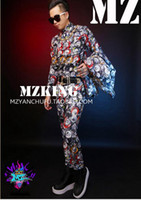 Wholesale Coke Costume - Male singer clubs in Europe and the runway looks colorful coke cans letters to cultivate one's morality suit costumes. S - 6 xl