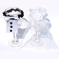 Wholesale Wholesale Glass Tables - 2pcs Lot BRIDE & GROOM Wedding Party Decoration Wine Glass Covers