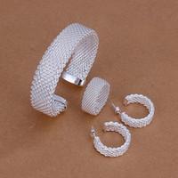 prata esterlina cobre venda por atacado-De alta qualidade 925 sterling silver Cobre malha terno conjunto de jóias DFMSS275 Nova marca de venda direta da Fábrica 925 silver pulseira anel brinco