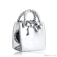 Wholesale Bag Cube - Wholesale Lady's Bag Charm 925 Sterling Silver European Charms Bead Compatible Fit Pandora Snake Chain Bracelet Female DIY Jewelry