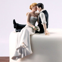 Wholesale Wedding Figurine Bride Groom - Romantic Bride Groom Cake Toppers Wedding Cake Decorations Supplies Resin Figurine Wedding Party Decorations Free Shipping