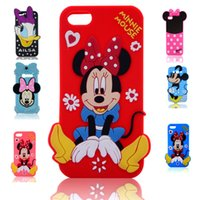 Wholesale Duck S4 - 2016 3D Cartoon soft Silicone Case Mickey Minnie duck Daisy Pooh Stitch Back Cover for iphone4 4S iphone5 5S iphone6 6S i6 plus S3 S4 S5 S6