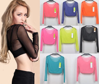 Wholesale Solid Colorful Shirt - Casual Women Ladies Candy Colorful Mesh Sheer Splice Gauze See Thru Crop Top Belly Stretch Bodycon Plain Tee Shirt Blusas