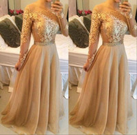 Wholesale Chiffon Shirt Black Shoulder - Sexy Gold Prom Party Dresses 2017 Off Shoulder Lace Long Sleeve Backless A Line Floor Length Vintage Evening Gowns