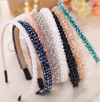 Wholesale Hair Beads For Girls - 7 Colors Creative Shining Crystal Modern Style Headband Hairbands for Girls Headwear 4 rows beads Hair Accessories for Women 12PCS