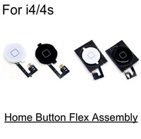 Wholesale Iphone 4s Cable Black - 10pcs Home Button Flex Ribbon Cable Assembly For iPhone 4 4s black white color Replacement Parts Assembly new