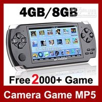 "Wholesale Lcd Mp4 Media Player - 4.3"" LCD Game Console PMP MP4 MP5 Player 8GB Free 2000+ games Media Player AV-Out FM with Camera"