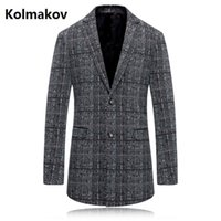 Wholesale British Cloths - Wholesale- 2017 autumn new style Blazer wind coat men casual stripe trench coat Men's british style Woolen cloth coat wool windbreak