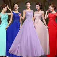 Wholesale Scoop Line Formal Dress - 2017 Chiffon Long Evening Dresses With Illusion Bateau Sheer Neck Sleeveless A-Line Formal Bridesmaids Dresses Evening Party Gowns