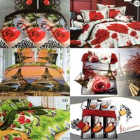 Wholesale Romantic Queen Size Bedding - Wholesale-High Quality Romantic Couple 3D Rose Flower Bedding Set 100% Cotton 4PCs King Queen Size Comfortable Beed Sheet Sets Ship By DHL