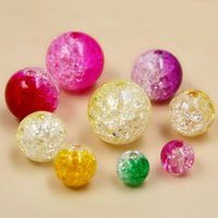 Wholesale Sparkle Spacer Bead - Wholesale-Round Shape 8mm Dia Two-Tone Mixed Colours Sparkle Crackle Loose Spacer Acrylic Beads for Jewelry