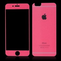 Wholesale Sparkling Screen Protector - Front+Back Color Screen Protector For iphone 6 Apple 6 plus 5 5s Sparkling Powder color silk Screen Tempered Glass