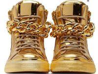 ingrosso zapatos hombre hip hop-2016 Top Brand Designer Zapatos Hombre Punta Rotonda Uomini Hip Hop Sneakers Catene D'oro Uomini Scarpe Casual Alta Top Sneakers XZ06