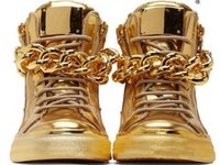 Wholesale Hip Hop High Top Sneakers - 2016 Top Brand Designer Zapatos Hombre Round Toe Men Hip Hop Sneakers Gold Chains Men Casual Shoes High Top Sneakers XZ06