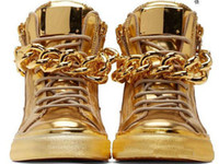 zapatos hombre hip hop venda por atacado-2016 Top Marca Designer Zapatos Hombre Dedo Do Pé Redondo Hip Hop Sapatilhas de Ouro Chains Homens Sapatos Casuais High Top Sneakers XZ06