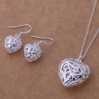 Wholesale Diamond Hollow Earrings - 2015 hot Women 925 Sterling Silver Necklace+Earrings set hollow flower heart necklace Christmas gift free ship