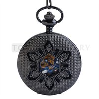 Wholesale Mechanical Vintage Pocket Watches - Teboer Jewelry Black Dial Blue Roman Numerals Mechanical Vintage Pocket Watch LPW754